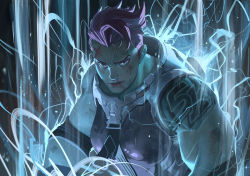 1girl arm_tattoo armband blood_on_arm breasts closed_mouth dirty_face eyeliner green_eyes looking_at_viewer makeup muscle muscular_female nesskain nose overwatch pink_hair pink_lips scar scar_across_eye short_hair simple_background sleeveless solo tattoo upper_body white_background zarya_(overwatch)