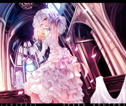 1girl :d bouquet bridal_veil character_name choker church cross dress drill_hair flower grey_hair haruka_natsuki idolmaster idolmaster_cinderella_girls june kanzaki_ranko looking_at_viewer open_mouth petals rose smile solo twin_drills veil wedding_dress