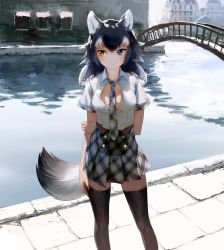 1girl animal_ears arm_behind_back between_breasts black_legwear black_necktie black_skirt blue_eyes blush breasts bridge day grey_hair grey_wolf_(kemono_friends) heterochromia highres kemono_friends long_hair looking_to_the_side medium_breasts multicolored_hair necktie necktie_between_breasts open_clothes open_shirt outdoors plaid plaid_necktie plaid_skirt pleated_skirt river shirt short_hair skirt solo standing tail thighhighs treeware two-tone_hair white_hair white_shirt wolf_ears wolf_tail yellow_eyes