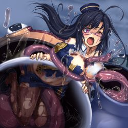1girl black_hair frog glasses hat kono_subarashii_sekai_ni_shukufuku_wo! long_hair long_tongue monikano monster one_eye_closed open_mouth pantyhose purple_eyes sena_(konosuba) solo tentacle tongue torn_clothes