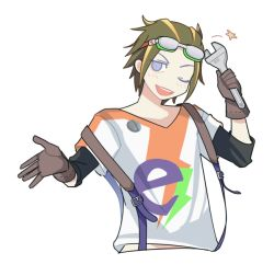 1boy blue_eyes blush brown_gloves brown_hair gloves goggles goggles_on_head idolmaster idolmaster_side-m looking_at_viewer male_focus multicolored_hair one_eye_closed shiraishi_eru smile solo star streaked_hair upper_body wrench