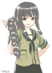 1girl :p black_hair braid brown_eyes hand_on_hip kantai_collection kitakami_(kantai_collection) long_hair looking_at_viewer sensen solo tongue tongue_out