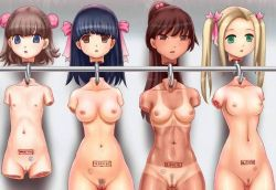4girls 774_(nanashi) age_difference amputee bangs bikini_tan black_hair blonde_hair blue_eyes branded breasts brown_eyes brown_hair bun_cover cleft_of_venus decapitation double_bun empty_eyes flat_chest green_eyes guro hair_bobbles hanging high_ponytail hook loli long_hair medium_breasts multiple_girls nipples nude peach_fuzz ponytail pubic_hair pussy quadruple_amputee severed_head shiny shiny_skin short_hair small_areolae small_breasts small_nipples stamp tan tanline twintails uncensored