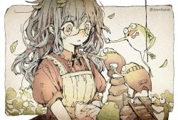 1girl apron bowtie crying freckles frog glasses ladder messy_hair original outdoors parallela66 parted_lips semi-rimless_glasses source_request tears twitter_username white_border