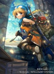 1girl bangs belt blonde_hair blue_eyes boots braid copyright_name dagger elbow_gloves eyebrows_visible_through_hair fire_emblem fire_emblem:_seisen_no_keifu fire_emblem_cipher gloves hat holding holding_weapon jewelry long_hair looking_at_viewer official_art open_mouth patty_(fire_emblem) scarf smile sword tied_hair weapon