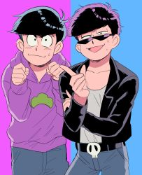black_hair brothers cosplay costume_switch denim hood hoodie jeans leather_jacket male_focus matsuno_ichimatsu matsuno_ichimatsu_(cosplay) matsuno_karamatsu matsuno_karamatsu_(cosplay) oniyama831 osomatsu-kun osomatsu-san pants paw_pose siblings simple_background sweat track_pants two-tone_background