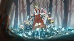 1girl ascot blurry dc_(12696462) flower full_body green_hair highres kazami_yuuka long_sleeves looking_up nature plaid plaid_skirt plaid_vest rain red_eyes shirt shoes short_hair skirt skirt_set solo sunflower touhou vest white_legwear