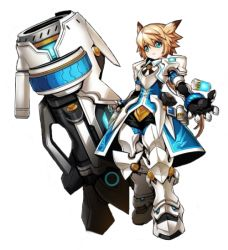 1boy armor blackjd83 blonde_hair boots cannon chung_(elsword) elsword gauntlets gloves greaves green_eyes huge_weapon long_hair male_focus official_art smile spiked_hair standing surcoat weapon white_background