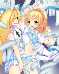 2girls arm_up armpits bangs blonde_hair blunt_bangs blush braid breasts dress green_eyes groping hand_on_another's_thigh highres incest lillie_(pokemon) long_hair lusamine_(pokemon) mother_and_daughter multiple_girls navel nihilego open_mouth panties panty_pull pokemon pokemon_(game) pokemon_sm polka_dot_panties ponytail restrained school_uniform sho2 short_sleeves skirt_lift sleeveless sleeveless_dress slime small_breasts smile standing tentacle ultra_beast underwear very_long_hair