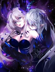 +_+ 1girl absurdres arm_belt artist_name bare_shoulders belt blue_eyes blue_hair breasts ciel_(elsword) cleavage demonio_(elsword) diabla_(elsword) elsword eyes_closed fingernails grey_hair hair_between_eyes hand_in_hair hand_on_another's_head head_tilt hetero highres horns hug hug_from_behind kiss large_breasts light_particles long_fingernails long_hair looking_to_the_side luciela_r._sourcream ming_(wldi0132) neck_kiss older pale_skin parted_lips petals pointy_ears sharp_fingernails signature smile space_print strapless upper_body white_hair