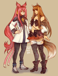 2girls animal_ears blazblue brown_hair cat_ears cat_tail crossover detached_sleeves final_fantasy final_fantasy_xiv full_body glasses highres holo kokonoe long_hair midriff multiple_girls multiple_tails pink_eyes pink_hair ponytail red_eyes reema_and signature simple_background spice_and_wolf standing tail thighhighs wolf_ears wolf_tail