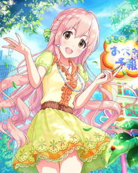 1girl :d belt building dress headset holding idolmaster idolmaster_cinderella_girls jewelry ladybug leaf light_rays long_hair looking_at_viewer necklace open_mouth outdoors pink_hair pointer puffy_short_sleeves puffy_sleeves saionji_kotoka short_sleeves smile solo sunbeam sunlight very_long_hair