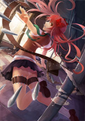1girl absurdres armpit_peek bandolier black_skirt blood bow broken_glass brown_eyes cuts ensinn glass hair_bow highres indoors injury jumping long_hair looking_at_viewer mouth_hold nail panties pleated_skirt profile red_bow red_hair school_uniform shirai_kuroko shirt skirt socks solo to_aru_majutsu_no_index torn_clothes torn_shirt twintails underwear white_legwear white_panties