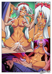 1girl 4boys aa_megami-sama anal arabatos ass breasts cum cum_in_ass cum_in_mouth cum_in_pussy cum_on_breasts dark_skin double_handjob double_penetration facial facial_mark fellatio forehead_mark gangbang girl_on_top group_sex hild jewelry large_breasts licking licking_lips milf multiple_boys multiple_penises nipples nude open_mouth oral penetration purple_eyes pussy sex smile spread spread_legs vaginal white_hair