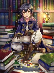 1boy bangs black_gloves black_hair book book_stack bookshelf boots brown_boots buttons company_name fire_emblem fire_emblem:_kakusei full_body gloves hood_down hooded_jacket jacket lantern light_particles long_sleeves looking_at_viewer male_focus mark_(fire_emblem) matsurika_youko on_floor open_book open_mouth pants purple_jacket short_hair sitting smile star watermark white_pants yellow_eyes