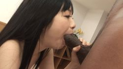 1boy 1girl animated animated_gif asian dark_skin drooling fellatio interracial japanese licking oral penis photo saliva sex uncensored