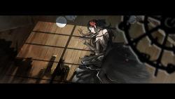 1girl black_dress black_gloves black_hair black_legwear broken_plate chandelier dress elbow_gloves floorboards flower gloves hair_flower hair_ornament highres inside long_hair looking_to_the_side lying on_side pixiv_fantasia pixiv_fantasia_fallen_kings shadow solo window yuushoku