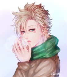 1boy artist_name blonde_hair breath caesar_anthonio_zeppeli eyelashes facial_mark from_side green_eyes hands_together jojo_no_kimyou_na_bouken kedouin_kororu looking_at_viewer male_focus scarf signature solo upper_body