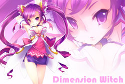 1girl aisha_(elsword) arms_up breasts cleavage crescent_hair_ornament elsword hair_ornament hairclip kuroshio_maki long_hair purple_eyes purple_hair purple_skirt skirt smile solo twintails zoom_layer