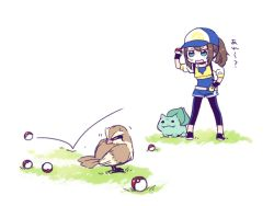 1girl baseball_cap beak belt black_gloves black_pants black_shoes blue_eyes blue_hat brown_hair bulbasaur closed_mouth commentary_request cropped_jacket failure female_protagonist_(pokemon_go) fingerless_gloves full_body gloves hat holding holding_poke_ball jacket kanitama_(putyourhead) long_sleeves motion_lines pants pidgey poke_ball pokemon pokemon_(creature) pokemon_(game) pokemon_go ponytail rectangular_mouth shoes simple_background sketch solid_circle_eyes standing sweatdrop talons white_background yellow_jacket