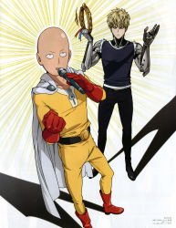 2boys absurdres bald blonde_hair boots cape cyborg emphasis_lines genos gloves highres instrument karaoke male_focus microphone multiple_boys official_art one-punch_man red_boots red_gloves rubber_boots saitama_(one-punch_man) shadow short_hair superhero tambourine toda_mai white_cape