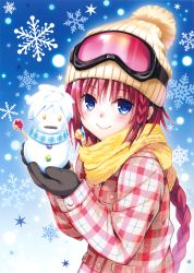 1girl absurdres beanie black_gloves blue_background blue_eyes blush braid candy closed_mouth food gloves goggles goggles_on_head hat highres holding jacket kurosaki_mea lips lollipop long_hair long_sleeves looking_at_viewer plaid plaid_jacket pocket red_hair red_jacket scarf simple_background single_braid smile snowflakes snowman solo sweets to_love-ru upper_body yabuki_kentarou yellow_hat yellow_scarf