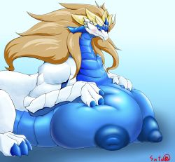 1girl artist_request blue_eyes breasts dragon female furry gigantic_breasts gradient gradient_background nipples solo upper_body white_background