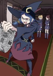 3girls akko_kagari arai_hiroki belt blue_hair boots brown_hair choker dress glasses hairband hat highres kagari_atsuko little_witch_academia long_hair lotte_yanson multiple_girls newspaper open_mouth orange_hair red_eyes school_uniform short_hair side_ponytail skirt ursula_(little_witch_academia) witch witch_hat