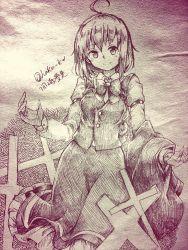 1girl ahoge artist_name bow cape capelet character_name cross monochrome okazaki_yumemi short_hair skirt solo touhou traditinal_media wadante