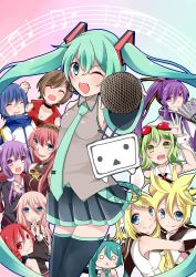 3boys 6+girls absurdres aqua_eyes aqua_hair black_legwear blonde_hair blue_eyes blue_hair blush boots brother_and_sister brown_hair detached_sleeves eyes_closed goggles goggles_on_head green_eyes green_hair gumi hachune_miku hair_ornament hairband hairclip hatsune_miku headset highres hug ia_(vocaloid) kagamine_len kagamine_rin kaito kamui_gakupo kasane_teto long_hair megurine_luka meiko meiko_(vocaloid3) microphone multiple_boys multiple_girls necktie niconico one_eye_closed open_mouth otosuzuha pink_hair ponytail purple_eyes purple_hair red_eyes red_hair short_hair siblings skirt sleeveless smile thigh_boots thighhighs twins twintails utau very_long_hair vocaloid yuzuki_yukari