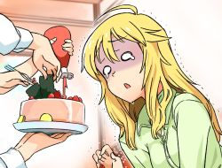 1girl ahoge blonde_hair cake crying crying_with_eyes_open dress_shirt food fruit hoshii_miki idolmaster ketchup long_hair momo_no_suidou_mizu o_o open_mouth pale_face plate shirt strawberry tears trembling
