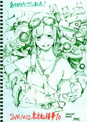 1girl alternate_costume alternate_hairstyle artist_name belt chain_necklace dated gloves goggles goggles_on_hat goggles_on_head kawashiro_nitori key mechanic monochrome overalls pants pocket savan shirt simple_background sketch smile solo tools touhou traditional_media utility_belt