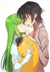 1boy black_hair blush c.c. cheese-kun code_geass creayus green_hair hat incipient_kiss lelouch_lamperouge long_hair open_mouth purple_eyes shirt short_hair yellow_eyes