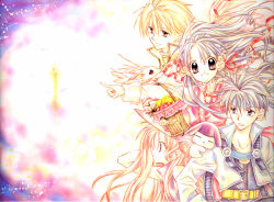 2boys 2girls :p alternate_costume angel_wings apple basket castle dragon fantasy flower food fruit full_moon_wo_sagashite kouyama_mitsuki meroko_yui multiple_boys multiple_girls official_art pointing profile rio_izumi rio_izumi_(dog) sakurai_eichi takuto_kira tanemura_arina tongue tongue_out wind wings