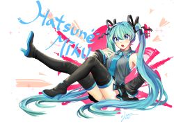 1girl 2014 aqua_hair blue_eyes boots breasts character_name dated detached_sleeves full_body hair_ribbon hatsune_miku high_heels iso1206 long_hair looking_at_viewer medium_breasts nail_polish necktie open_mouth ribbon sitting skirt solo thigh_boots thighhighs twintails very_long_hair vocaloid
