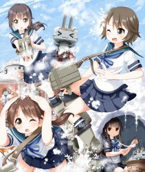 >_< 4girls :3 brown_eyes brown_hair building cannon eating food fubuki_(kantai_collection) hands_on_own_head hatsuyuki_(kantai_collection) igloo innertube kantai_collection long_hair miyuki_(kantai_collection) mochi multiple_girls one_eye_closed open_mouth pleated_skirt ponytail rensouhou-chan school_uniform serafuku shirayuki_(kantai_collection) shirt short_hair short_sleeves skirt snowball snowball_fight tsurukou_(tksymkw) wagashi