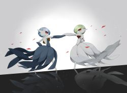 alternate_color gardevoir highres looking_at_another mega_gardevoir no_humans petals pokemon pokemon_(creature) pokemon_(game) pokemon_xy reflection reflective_floor shiny_pokemon white_background
