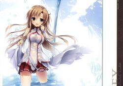 1girl absurdres asuna_(sao) blush brown_eyes brown_hair gradient_background highres huge_filesize karory see-through solo sword_art_online thighhighs wet