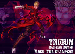 1boy aiming blonde_hair blue_eyes boots character_name coat copyright_name dark earrings english friction full_body gloves gun handgun hellsing highres jewelry long_coat male_focus outstretched_arm parody pistol red_coat short_hair smile solo spiked_hair standing style_parody trigun vash_the_stampede weapon zoom_layer