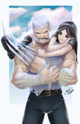 1girl black_hair brown_eyes claw_(weapon) claws father_and_daughter highres logan_(film) logan_(movie) long_hair marvel old_man weapon white_hair wolverine x-23 x-men