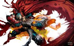 1boy cape chains green_eyes gun male_focus skull solo spawn spawn_(spawn) spikes superhero weapon