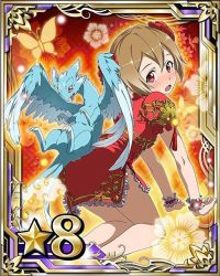 1girl all_fours brown_hair looking_at_viewer open_mouth pina_(sao) red_eyes red_skirt short_hair silica skirt solo sword_art_online wrist_cuffs