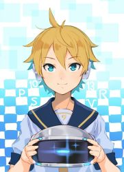 1boy blonde_hair blue_eyes checkered checkered_background cowlick eyebrows eyebrows_visible_through_hair gradient gradient_background hair_between_eyes headphones holding kagamine_len looking_at_viewer sagami_hako smile solo upper_body virtual_reality vocaloid vr_visor