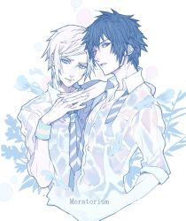 2boys blue blue_hair dress_shirt final_fantasy final_fantasy_xv fish freckles male_focus multiple_boys muted_color necktie noctis_lucis_caelum prompto_argentum roka_(lovecom000) shirt teenage wet wet_clothes wet_shirt wristband