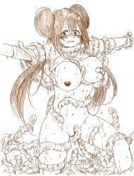 1girl blush bottomless breast_grab breasts double_bun labia large_breasts long_hair mei_(pokemon) monochrome navel niku_(dance-siva) nipples no_hat outstretched_arms pokemon pokemon_(game) pokemon_bw2 pussy rape restrained shirt_lift sketch slime standing sweat tentacle twintails wet