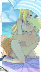 1boy 1girl beach bikini blonde_hair blush girl_on_top long_hair naruto nipple_sucking sex starchii straddling sweat swimsuit tagme uzumaki_naruto vaginal yamanaka_ino