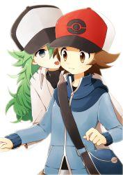 2boys baseball_cap blue_eyes brown_eyes brown_hair green_hair hat long_hair male_focus multiple_boys n_(pokemon) pokemon pokemon_(game) pokemon_bw smile tongue tongue_out touya_(pokemon) yaoi