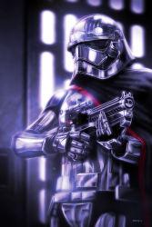 1girl armor cape captain_phasma eddie_holly energy_gun galactic_empire helmet science_fiction signature spoilers star_wars stormtrooper weapon