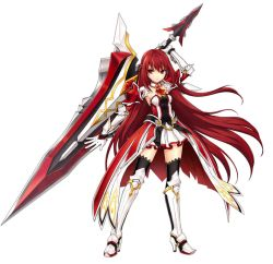 1girl armor armored_dress artist_request black_legwear braid detached_collar elesis elsword gloves greaves half_updo huge_weapon long_hair neckerchief no_nose official_art red_eyes red_hair serious solo standing sword thighhighs weapon white_background white_gloves
