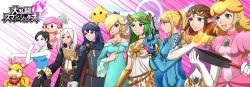 6+girls axe bare_shoulders black_hair blonde_hair blue_hair bodysuit book breasts brown_hair cape crown doubutsu_no_mori dress earrings elbow_gloves fire_emblem fire_emblem:_kakusei flat_chest frying_pan gloves green_hair gun hair_ornament hair_over_one_eye halo highres hooded_jacket jewelry kid_icarus kid_icarus_uprising long_coat long_hair lots_of_jewelry lucina luma mario_(series) medium_breasts metroid mole multiple_girls my_unit necklace nintendo pale_skin palutena pink_hair ponytail princess_peach princess_zelda riko_(sorube) rosalina_(mario) samus_aran shoulder_pads skirt small_breasts smile solid_oval_eyes stretch super_mario_bros. super_mario_galaxy super_smash_bros. tank_top tanktop the_legend_of_zelda tiara twilight_princess twintails villager_(doubutsu_no_mori) wand weapon wendy_o._koopa white_gloves white_hair wii_fit wii_fit_trainer zero_suit